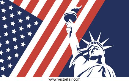Usa liberty statue with flag of 4th july vector design