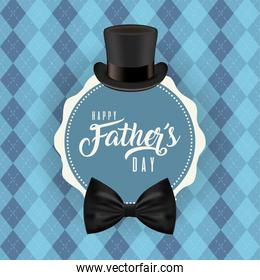 Seal stamp with hat and bowtie of fathers day vector design
