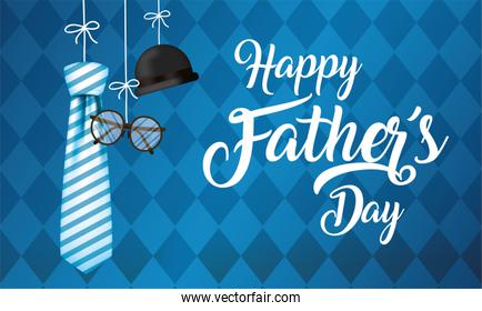 Striped necktie glasses and hat hanging of fathers day vector design