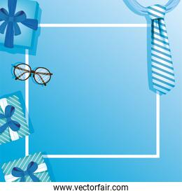 Striped necktie glasses and gifts of fathers day vector design