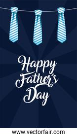 Neckties hanging of fathers day vector design