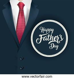 Pointed necktie on suit with seal stamp of fathers day vector design