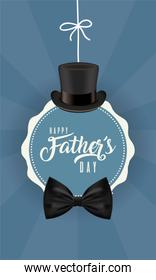 Seal stamp with hat and bowtie of fathers day vector
