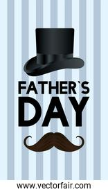 Hat and mustache of fathers day vector design