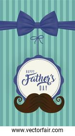 Seal stamp with bowtie and mustache of fathers day vector design