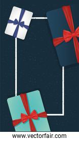 Gifts with bowties around frame vector design