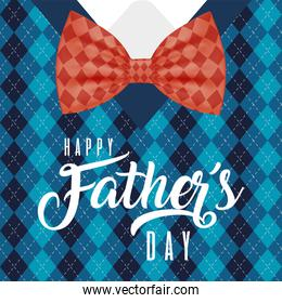 Bowtie on pattern pullover background of fathers day vector design