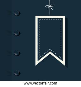 Blue shirt with buttons background and label hanging of fathers day vector design
