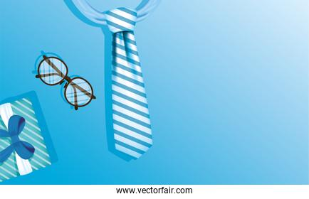 Striped necktie glasses and gift of fathers day vector design