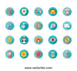 stay at home and coronavirus icon set, block style