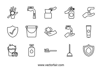 toothbrush and hygiene icon set, line style