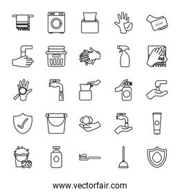 toilet pump and hygiene icon set, line style