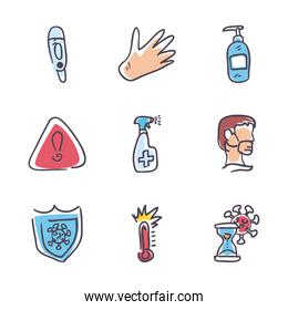 Medical care and covid 19 virus fill style icon set vector design
