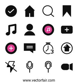 Tik tok fill style icon set vector design