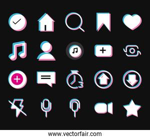 Tik tok lighten style icon set vector design
