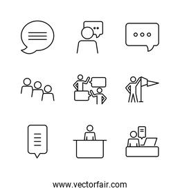 pennant flag and pictogram people icon set, line style