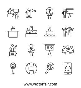 global sphere and pictogram people icon set, line style