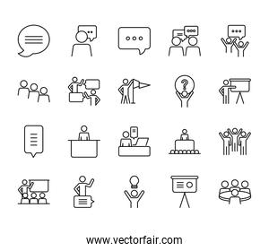 communication bubble and pictogram people icon set, line style
