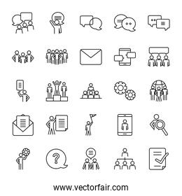 question mark and pictogram people icon set, line style