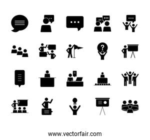 communication bubble and pictogram people icon set, silhouette style