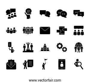 pictogram people and speech bubbles icon set, silhouette style