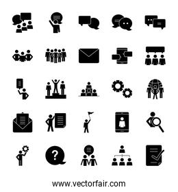 question mark and pictogram people icon set, silhouette style