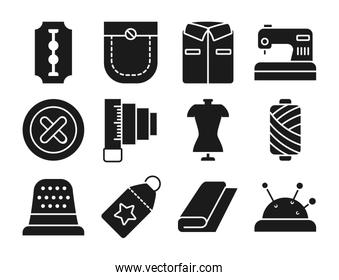 razor blade and sewing icon set, silhouette style