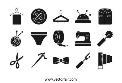roll tape and sewing icon set, silhouette style
