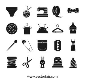 scirssors and sewing icon set, silhouette style