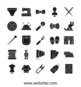 needdles and sewing icon set, silhouette style