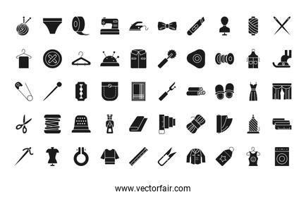 sewing icon set, silhouette style