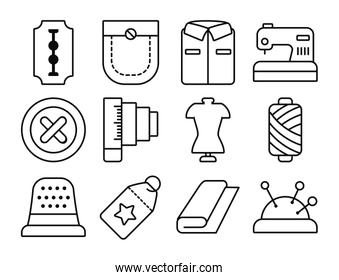 razor blade and sewing icon set, line style