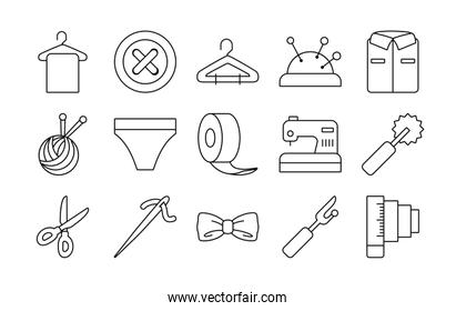 roll tape and sewing icon set, line style