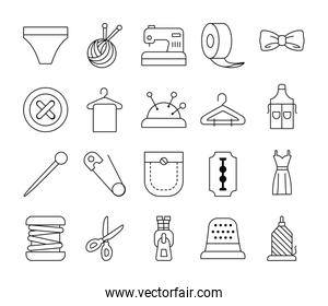 scirssors and sewing icon set, line style