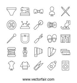 needdles and sewing icon set, line style