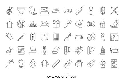 sewing icon set, line style
