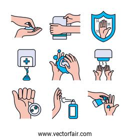 shield and handwashing icon set, line and fill style