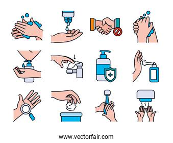 Hands and handswashing icon set, line and fill style