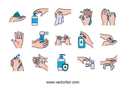 paper tissue and handwashing icon set, line and fill style