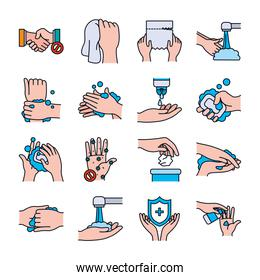 soapy water and handswashing icon set, line and fill style