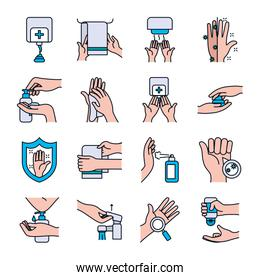 towels and handwashing icon set, line and fill style