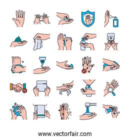 paper tissues and handswashing icon set, line and fill style