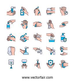 antibacterial dispenser and handwashing icon set, line and fill style