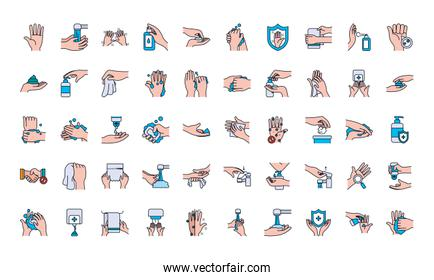 handswashing icon set, line and fill style