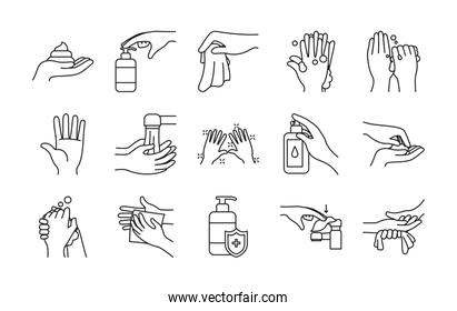 paper tissue and handwashing icon set, line style