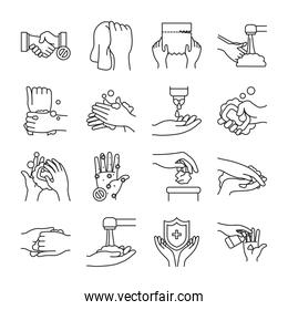 soapy water and handswashing icon set, line style