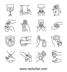 towels and handwashing icon set, line style