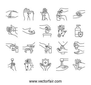 faucet and handwashing icon set, line style