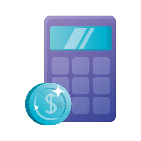 Isolated calculator and coin vector design
