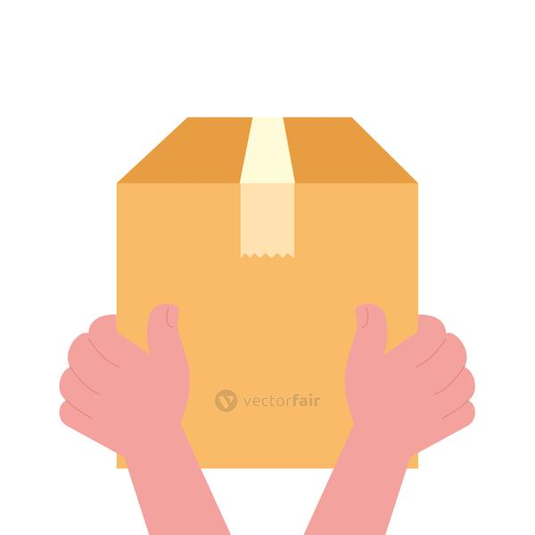 hands holding delivery box vector design
